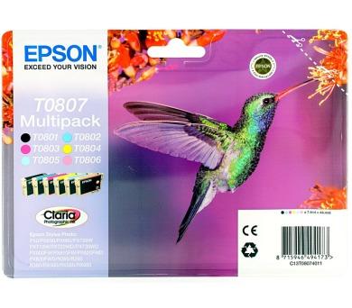 Epson T0807 originální - černá/červená/modrá/žlutá/sv.modrá/sv.červená