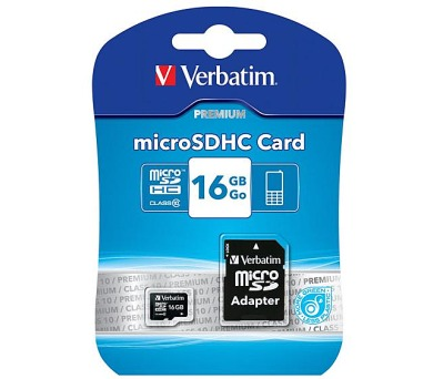 Verbatim micro SDHC 16GB Class 10 + adapter