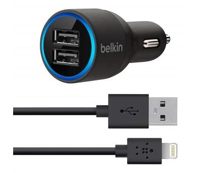 Belkin USB dual 2 x 2.1A + Lightning kabel - černá/modrá