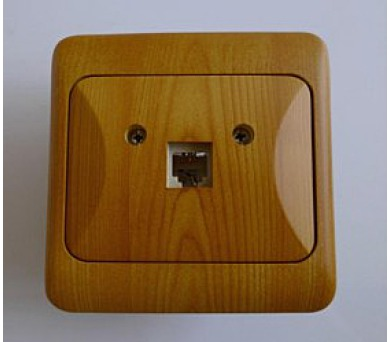 Telefonní zásuvka jednonásobná TANIA - světlé dřevo