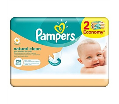 Pampers Natural Clean 2x64ks
