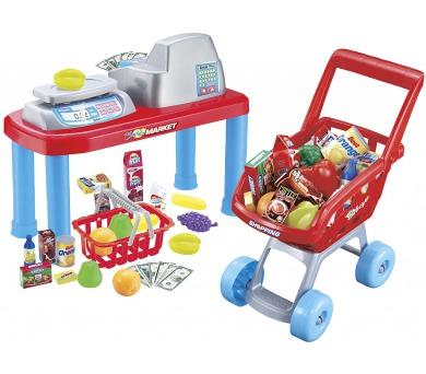G21 Dětská pokladna + nákupní vozík s příslušenstvím