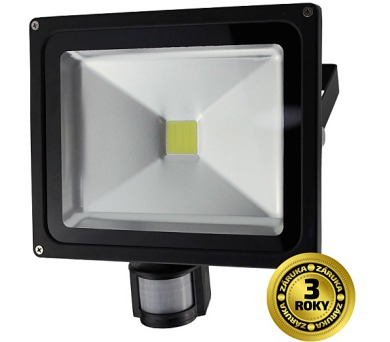 LED reflektor SMD s čidlem pohybu 30W černý