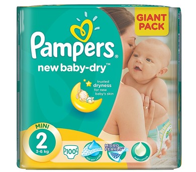 Pampers New Baby-dry vel.2 Mini