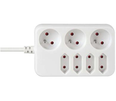 Prodlužovací kabel bílý 3 zásuvky + 4 zásuvky 3m