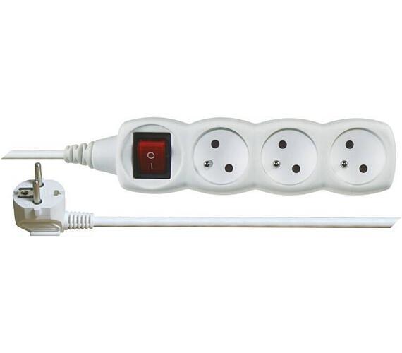 Prodlužovací kabel bílý s vypínačem 3 zásuvky 1,2m