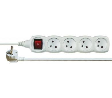 Prodlužovací kabel bílý s vypínačem 4 zásuvky 10m + DOPRAVA ZDARMA
