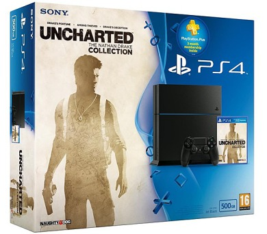 Sony PlayStation 4 500GB + hra Uncharted: The Nathan Drake Collection + PS 90 dní PS PLUS - černá