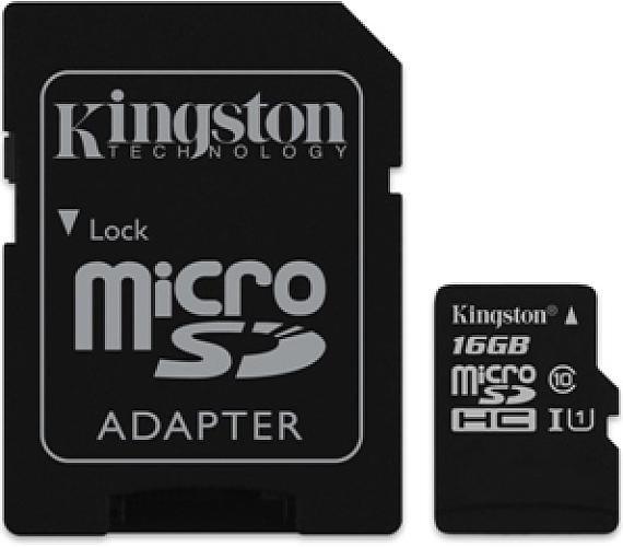 Kingston MicroSDHC 16GB UHS-I U1 (45R/10W) + adapter