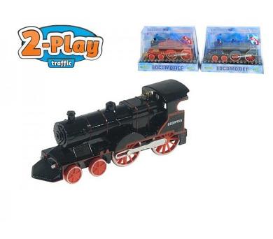 Lokomotiva/Vlak kov 15cm na zpětné natažení na baterie 3xLR41 se zvukem se světlem v krabici