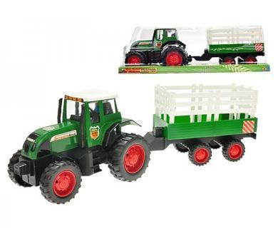Traktor s vlečkou plast 43cm na setrvačník v krabici