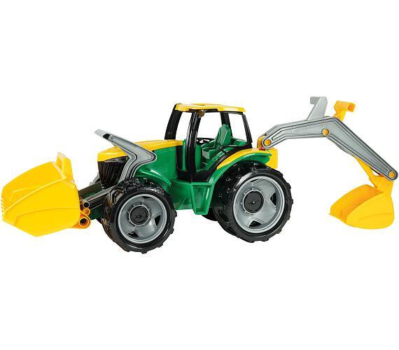 Traktor se lžící a bagrem plast zeleno-žlutý 65cm v krabici od 3 let + DOPRAVA ZDARMA