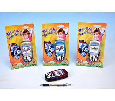 Telefon Mobil plast česky mluvící 11cm na baterie se zvukem asst 4 barvy na kartě