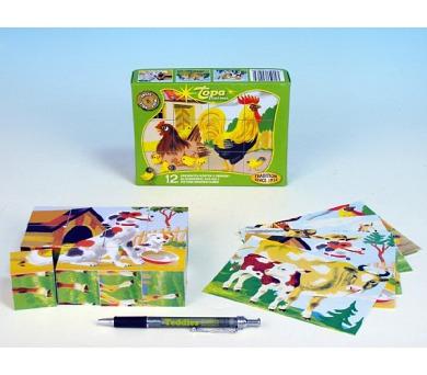 Kostky kubus Domácí zvířátka dřevo 12ks v krabičce 16,5x12x4cm
