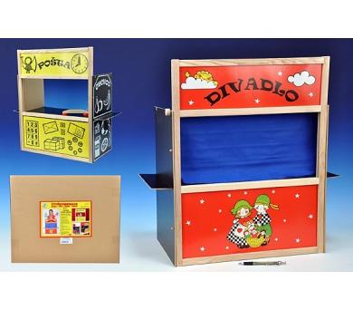 Čtyřkombinace-divadlo+pošta+obchod+tabulka v krabici + DOPRAVA ZDARMA