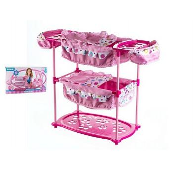 Sada pro panenky dvojčata kočárek 60(v)x30(š)x43(h)+ postýlka + židlička plast/kov v krabici + DOPRAVA ZDARMA