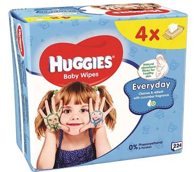 Ubrousky čistící HUGGIES® QUATRO Pack Every 4x56ks