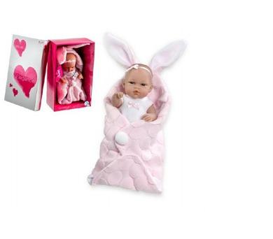 Panenka/miminko 33cm pevné tělo v zavinovačce v krabici + DOPRAVA ZDARMA
