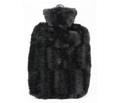 Termofor Hugo Frosch Classic s obalem z umělé kožešiny – černý