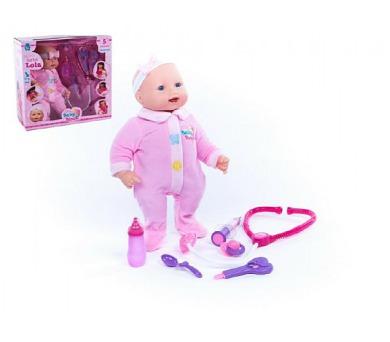 Panenka/miminko měkké tělo 45cm s doplňky se zvukem a se světlem na baterie v krabici + DOPRAVA ZDARMA
