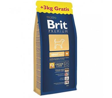 Brit Premium Dog Adult M 15 + 3 kg ZDARMA