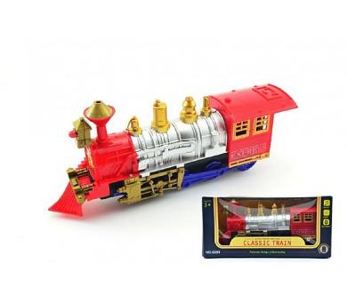 Lokomotiva/Vlak plast 28cm narážecí na baterie se světlem se zvukem v krabici + DOPRAVA ZDARMA