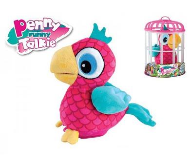 Papoušek Penny opakující slova 18cm plyš na baterie se zvukem v kleci + DOPRAVA ZDARMA