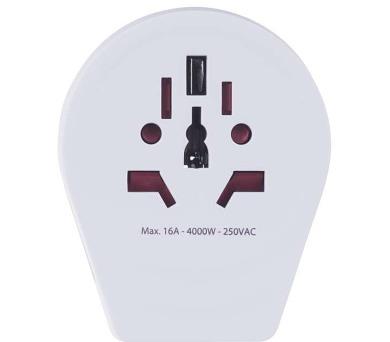 Cestovní adaptér bílý (pro cizince)