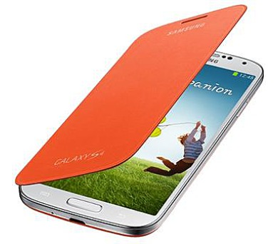 Samsung kryt s flipem EF-FI950BOE pro Galaxy S IV (i9505) Orange + DOPRAVA ZDARMA