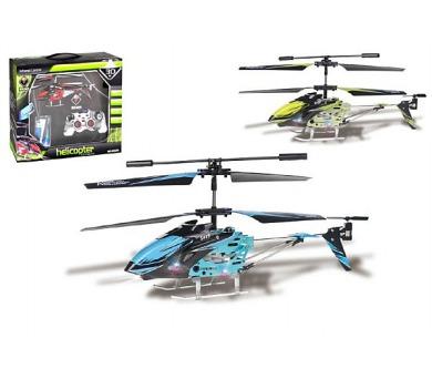 Vrtulník RC kov/plast 18cm na baterie na vysílačku s USB kabelem na nabíjení v krabici + DOPRAVA ZDARMA