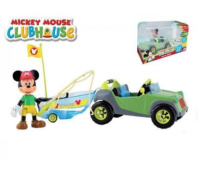 Mickey Mouse Clubhouse auto s rybářským člunem plast 20cm kloubovou figurkou s doplňky v krabičce + DOPRAVA ZDARMA