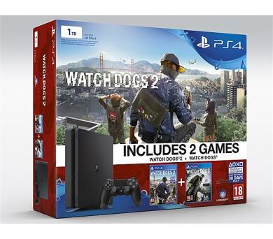 Sony PlayStation 4 SLIM 1TB + Watch_Dogs 1+2