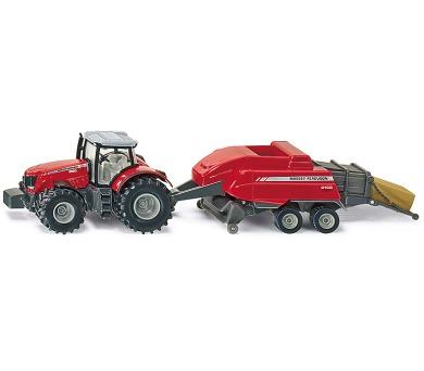 SIKU Farmer - Traktor s vlekem na tvoření balíků 1:50