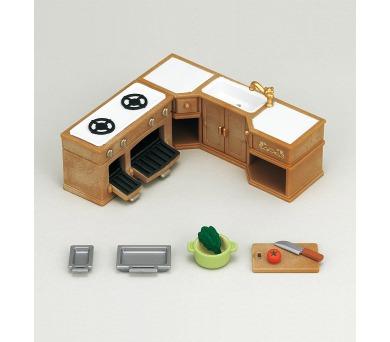 Nábytek - rohová kuchyňská linka s vybavením Sylvanian family