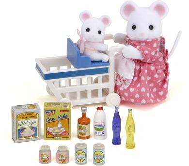Mamka myška s nákupním vozíkem a myšičkou Sylvanian family