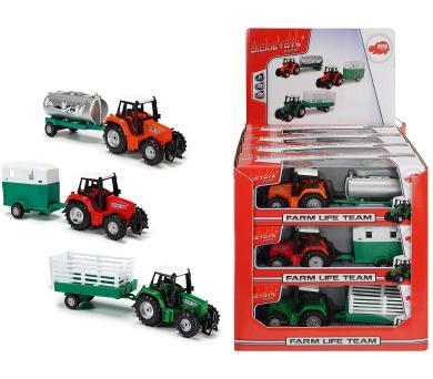 Traktor kovový s přívěsem 18 cm