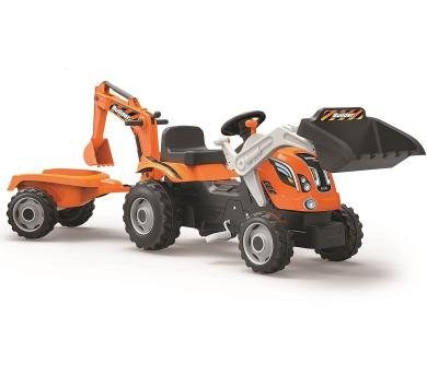 Šlapací traktor Builder Max s bagrem a vozíkem oranžový + DOPRAVA ZDARMA