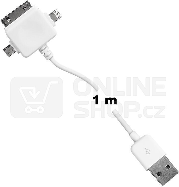 WE Datový kabel micro USB/iPhone4/5 100cm bílý (09990)