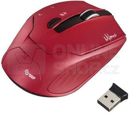HAMA myš Milano/ bezdrátová/ optická/ 2400 dpi/ 6 tlačítek/ USB/ červená (53943)