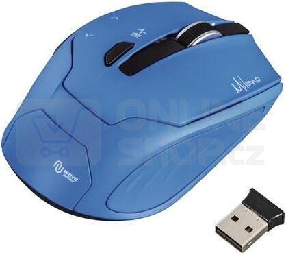 HAMA myš Milano/ bezdrátová/ optická/ 2400 dpi/ 6 tlačítek/ USB/ modrá (53944)