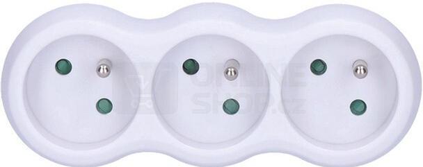 Solight rozbočka, 3 x 10A, bílá