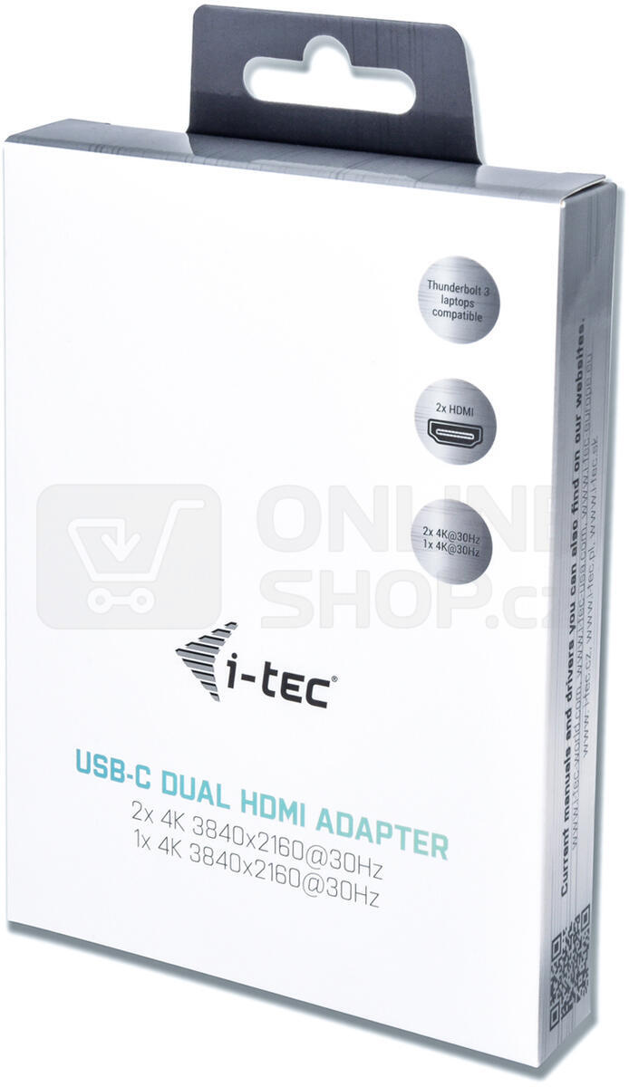 i-tec USB 3.1 Type C na Dual HDMI video adaptér/ 2x HDMI 4K/ kompatibilní s Thunderbolt 3 (C31DUAL4KHDMI)