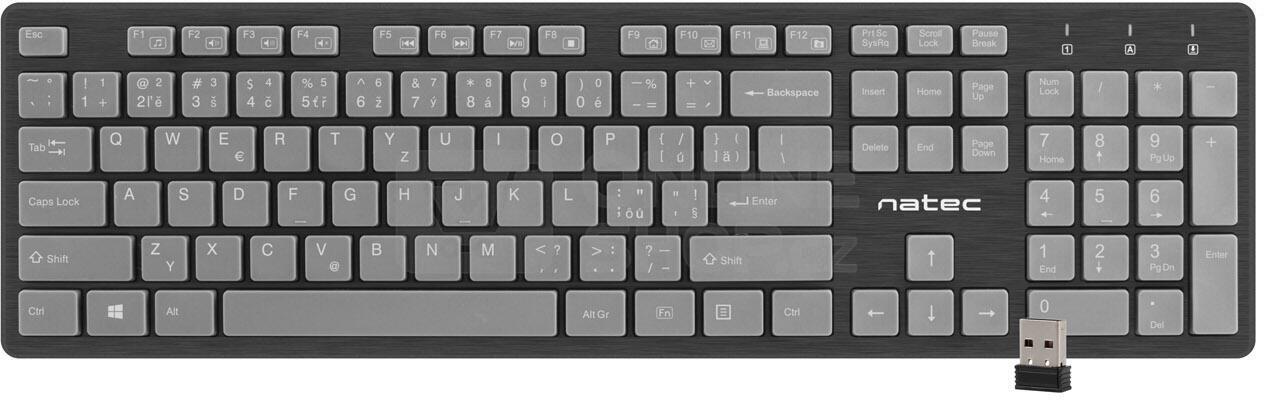 Kancelářská sada 4v1 Natec Tetra CZ/SK layout, černo-šedá (NKL-1274)