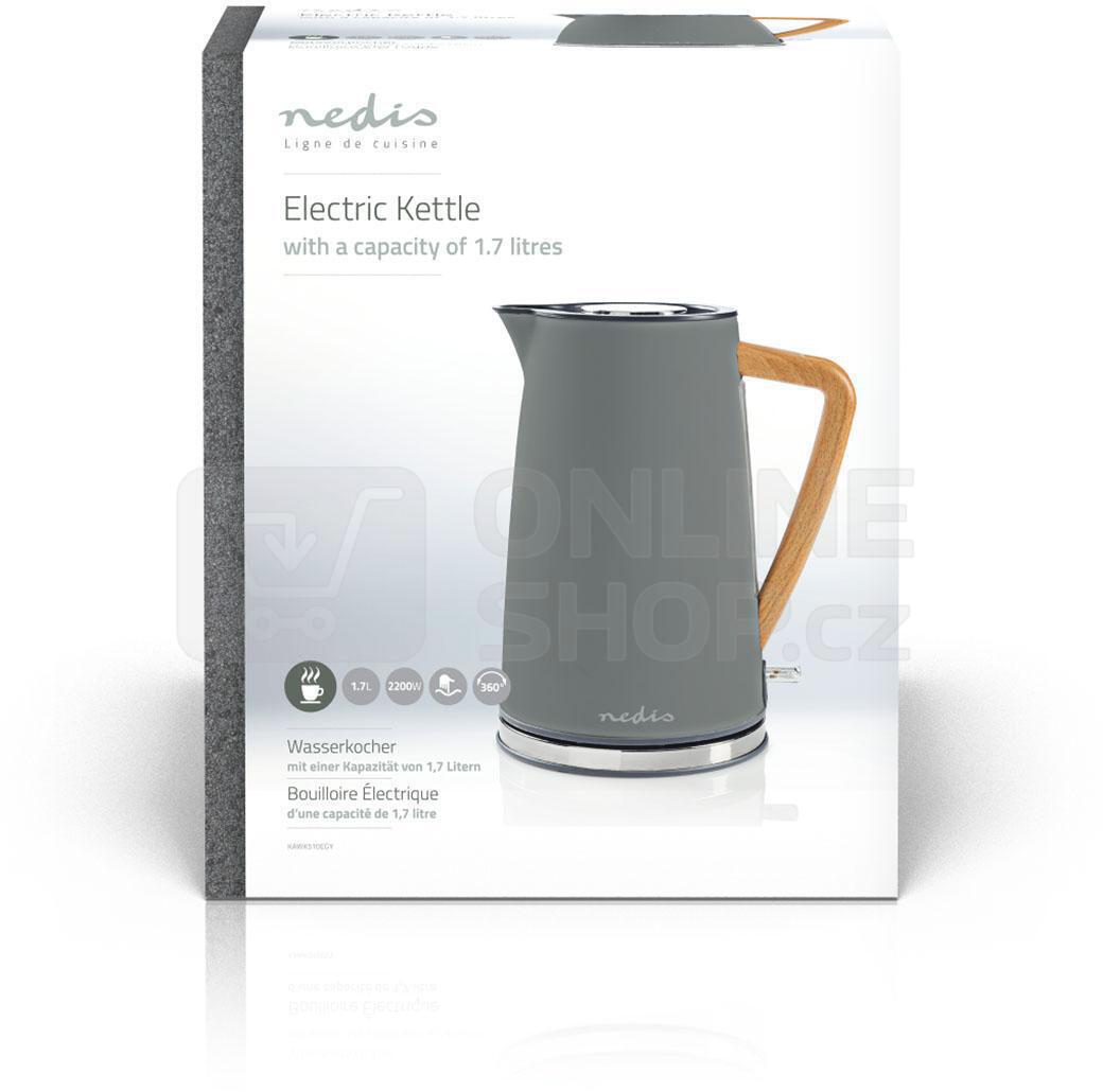 Rychlovarná konvice Nedis KAWK510EGY Soft-Touch - šedá