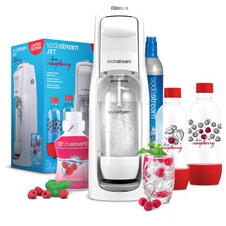 SET Výrobník sody SodaStream JET WHITE + Lahev 2x1l + Příchuť malina 500ml
