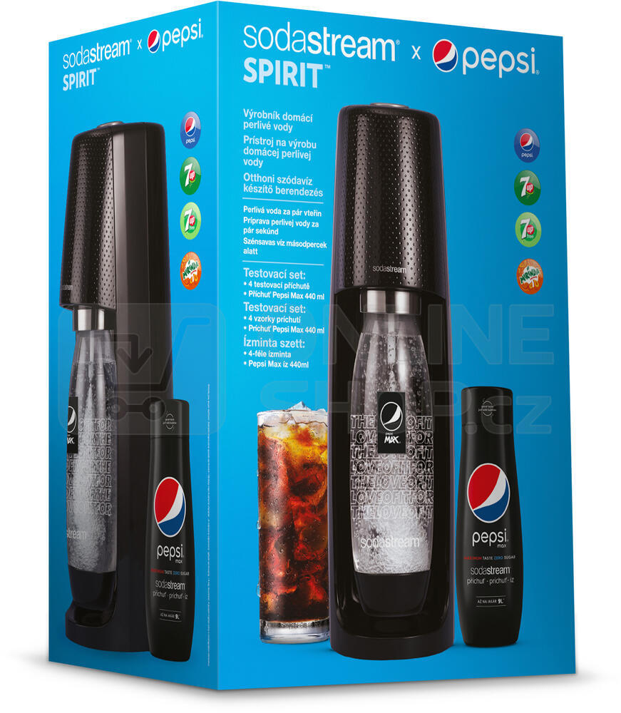 Výrobník sody SodaStream Spirit Black Pepsi MegaPack + sirup Pepsi Max 440 ml