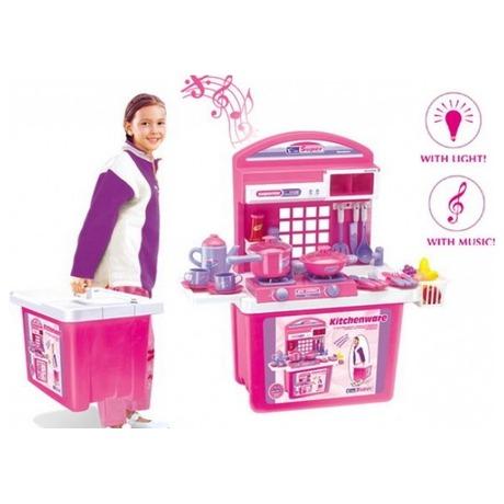 G21 Dětská kuchyňka s příslušenstvím v kufru růžová (foto 1)