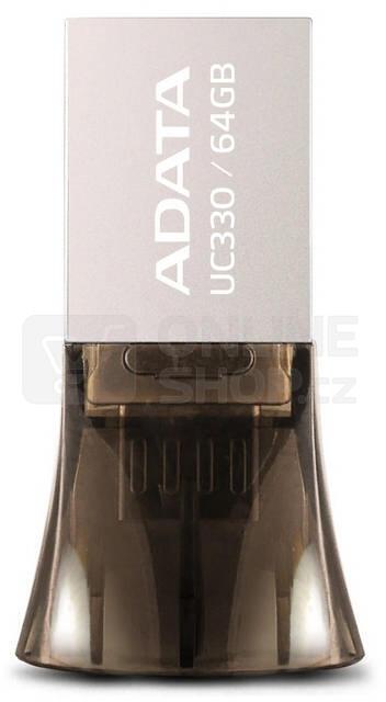 Flash USB ADATA UC330 64GB OTG MicroUSB/USB 2.0 - hnědý