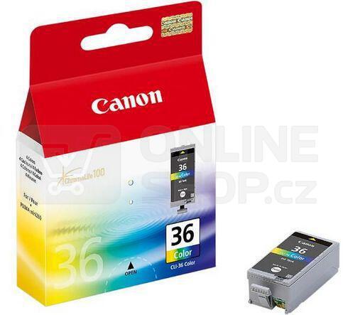 Inkoustová náplň Canon CLI-36C, 249 stran, originální - červená/modrá/žlutá