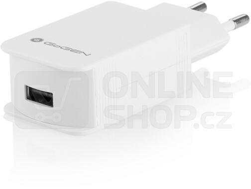 Nabíječka do sítě GoGEN ACHQ 102 CW, 1x USB, 2,1A s funkcí rychlonabíjení - bílá